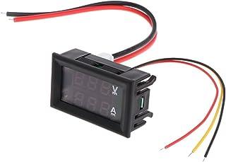 DC 100V 10A LED rosso voltmetro + Amp Dual Digital Volt Meter gauge blu