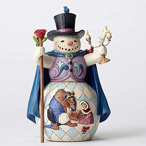 Jim Shore Disney Enchanted Christmas Beauty and Beast Snowman Figurine 4051973 (Disney Traditions Beast)