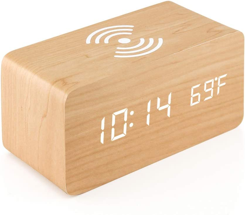 Oct17 Wooden Alarm Clock with Qi Wireless Charging Pad Compatible with iPhone Samsung Wood LED Digital Clock Sound Control Function, Time Date, Temperature Display for Bedroom Office Home - Wood