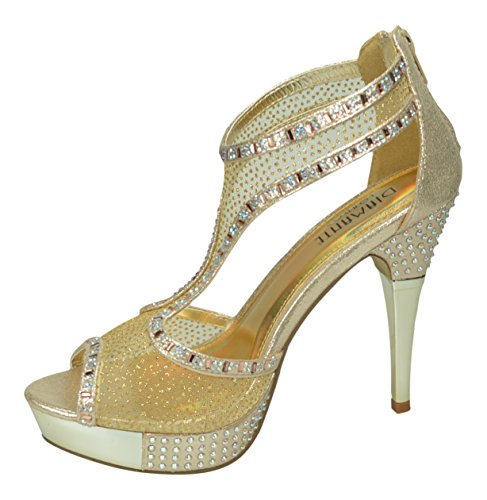 Chic Feet Ladies New Silver Or Gold Peep Toe Mesh Diamante Prom Wedding Bridal Evening T Bar Heels Platform Sandals Gold