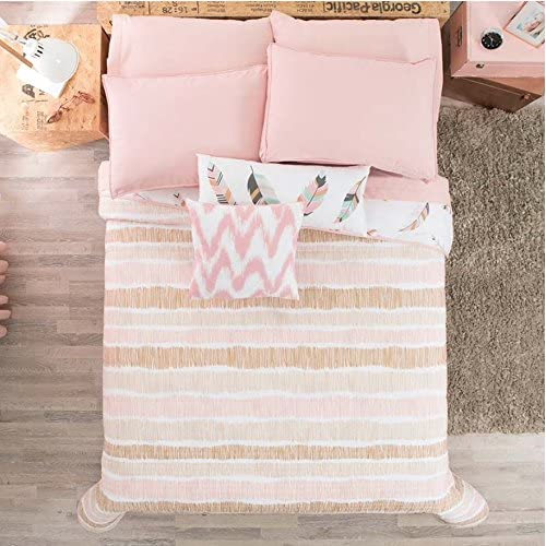 Top JORGE'S HOME FASHION NEW PRETTY COLLECTION FEATHERS DESIGN/STRIPES TEENS GIRLS REVERSIBLE COMFORTER WITH METALLIC PRINTING SET,SHEET SET AND WINDOWS PANELS 11 PCS QUEEN SIZE for cheap