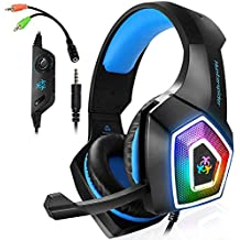Gaming Headset with Mic LED Light On Ear Gaming Headphone PS4,3.5mm Wired Gaming Headset for PC Mac Laptop Gamer Headphone (Blue) (Renewed)
