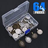 Glarks 64-Pieces Pendant Set, 16Pcs Oval Pendant Trays and 16Pcs Round Bezels with 32Pcs Glass Cabochon Round Clear Dome Tiles for Crafting DIY Jewelry Making