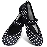 Centipede Demon Water Flat Shoes for Womens Ballet Shoes Zumba Shoes White Polka Dot