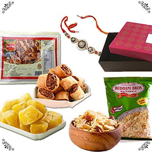 - Bite of India (Mumbai) All Time Favorite Rakhi Sweet Gift Box - Designer Rakhi, Chitale Bakarwadi, Budhani Dryfruit Mixture, Panchi Kesar Petha Dry