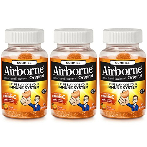 Airborne Orange Flavored Gummies, 63 Count - 1000mg of Vitamin C and Minerals & Herbs Immune Support (Pack of 3)