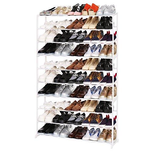 Homdox Neu Haus Schuhständer Regal Bewegliche 5/8/10 Schichten in verschiedene Größe und Farbe (10 Schichten, Weiss)