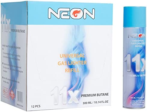12 CANS NEON BUTANE GAS 300ml 11X REFINED FILTERED LIGHTER REFILL FUEL IGNITUS
