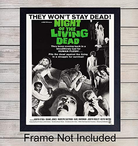 The Night of the Living Dead Poster- Vintage Wall Art Print - 8x10 Vintage Unframed Photo - Perfect Gift For Horror Film and Movie Buffs - Chic Home Decor ()