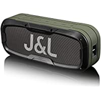 IPX5 Waterproof Bluetooth Speaker, J&L-85A 20W Outdoor Wireless Speakers with Enhanced Bass, 5200mAh Power Bank and NFC Function (Army Green)
