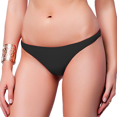 (Fittoo Sexy Sport Bikini Bottom for women V Cheeky Booty T-Back Solid Classic Ladies Swimsuit Black S)