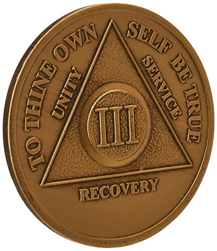 3 Year Bronze AA (Alcoholics Anonymous) - Sober / Sobriety / Birthday / Anniversary / Recovery / Medallion / Coin / Chip