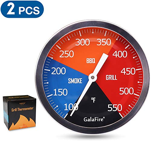 GALAFIRE (2 PCS) BBQ Charcoal Grill Replacement Thermometer, 3 3/16 inch Large Dial Face Smoker Temp Gauge