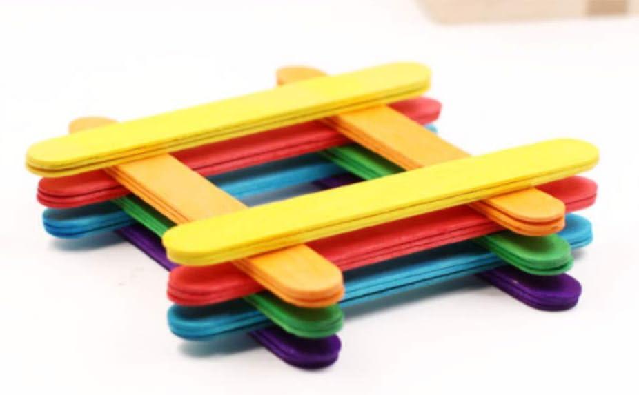 ZARRS Palos de Madera para Manualidades,100 Piezas Palos de Arte de Colores 140 x 10 mm Palos de Madera para DIY Bricolaje Artesan/ía