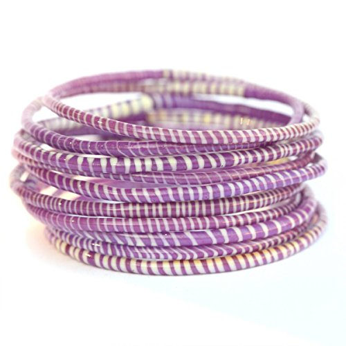 10 Purple with White Recycled Flip Flop Bracelets Hand Made in Mali, West Africa - Flip Flop Charm Ankle Bracelet