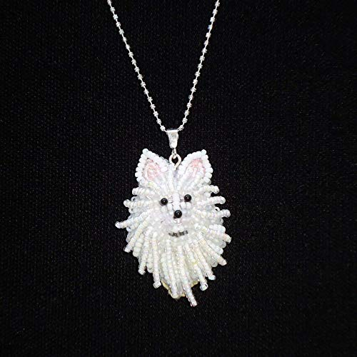 POMERANIAN or AMERICAN ESKIMO beaded sterling silver necklace, bead embroidery dog pendant (Made to Order) (Print Necklace Beaded Animal)