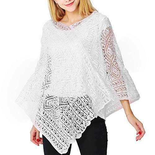 Puli V-neck Pullover Crochet Poncho Ultra Soft Kintted Shawl Cover Up Cape Ivory White