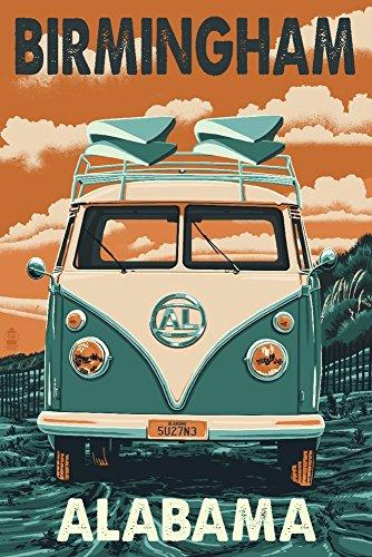 (Birmingham, Alabama - Camper Van Letterpress (9x12 Art Print, Wall Decor Travel Poster))