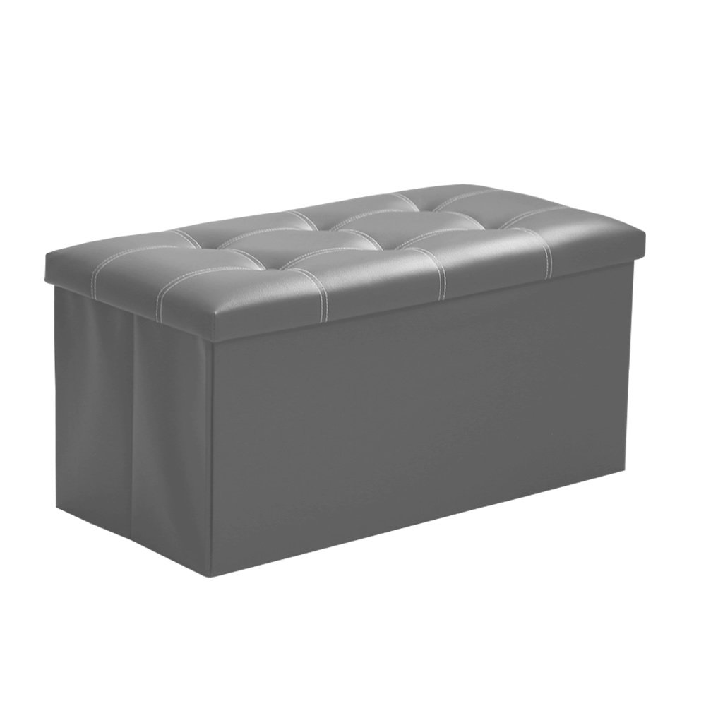 InSassy Folding Storage Ottoman Bench Foot Rest Toy Box Hope Chest Faux Leather - Medium - Light Grey