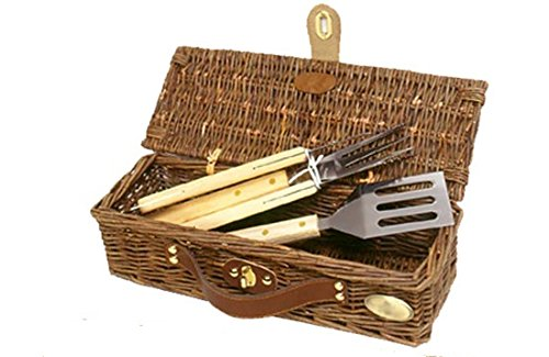 3 Pc BBQ Set w Wood Handles and Basket - Willow
