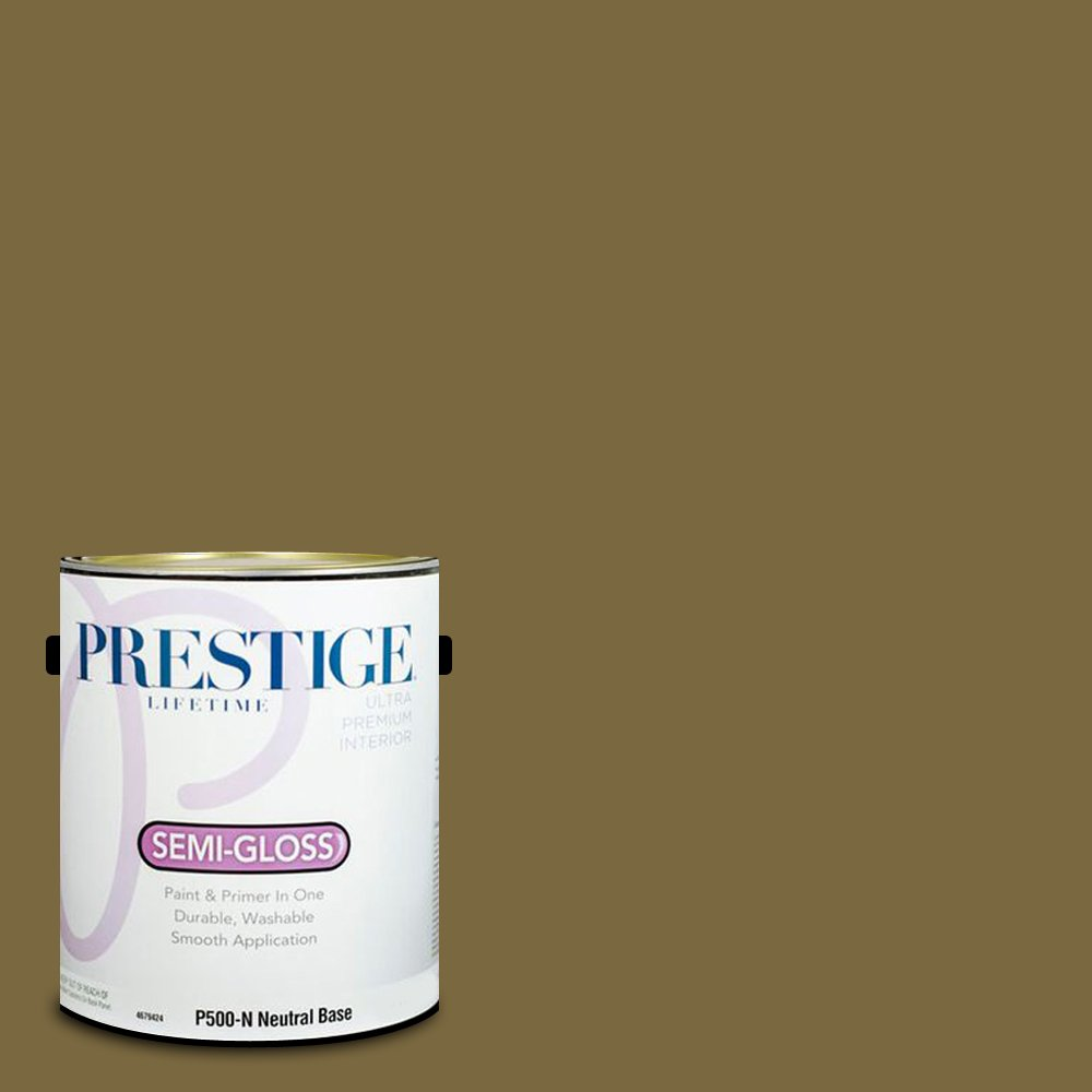 Prestige Paints Interior Paint and Primer In One, 1-Gallon, Semi-Gloss,  Comparable Match of Sherwin Williams Eminent Bronze