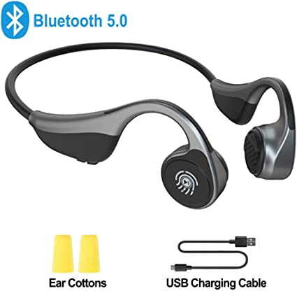 Amazon Com Open Ear Headphones Monodeal Bone Conduction Headphones Wireless Bluetooth Headset With Microphone For Sports Driving Home And Office Online Meeting Etc Grey Home Audio Theater