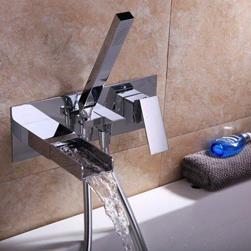 Lovedima Bathroom Modern Waterfall Bathtub Faucet Wall-Mount Tub Filler Faucet & Handshower (Wall Mounted Roman Tub)