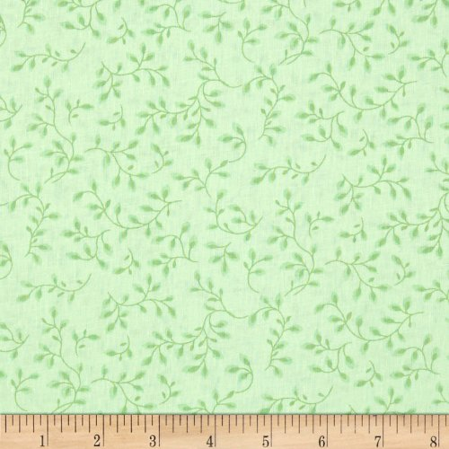 (Henry Glass 108in Wide Quilt Backing Folio Vines Pale Green Fabric by The Yard,)