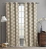 Duck River Textiles Crystina Jacquard Grommet Pair Panel, 76″ x 84″, Golden Pecan For Sale