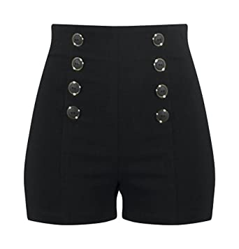4ea824aadaa Double Trouble Apparel High Waisted Pin Me Up Shorts - Black at Amazon  Women's Clothing store:
