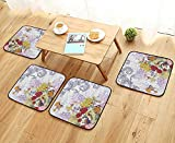 Printsonne Simple Modern Chair Cushions Pattern with Birds French Style Vintage and Batik s for Bathroom Reusable Water wash W27.5 x L27.5/4PCS Set