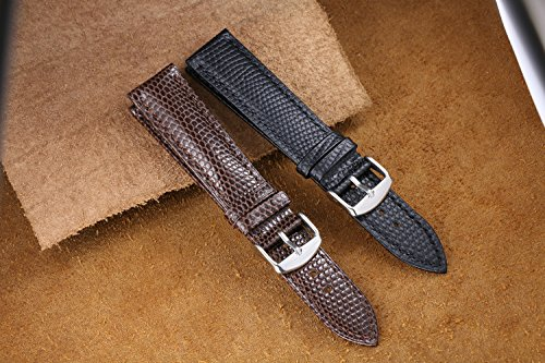 20mm Black Premium Cool Watch Straps Replacements Lizard-Grained Calf Leather Lightly Padded | Amazon.com