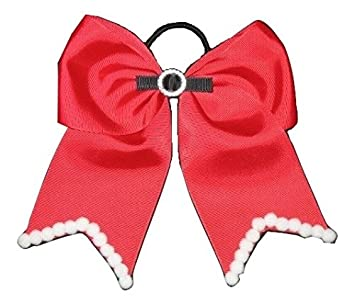 new christmas santa claus cheer bow pony tail 3 inch ribbon girls cheerleading