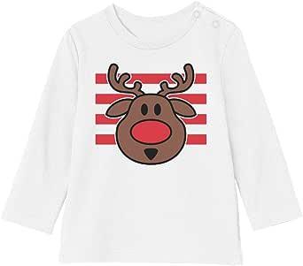 Camiseta bebé Unisex Manga Larga - Ropa Navidad Bebe - Ciervo de Navidad