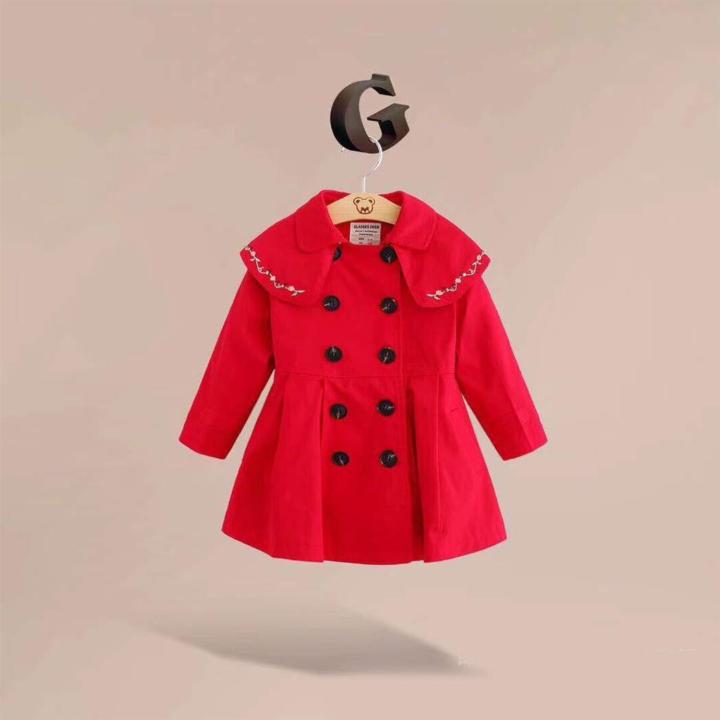 xzbailisha Little Girls Double-Breasted Flounced Windbreaker Long Sleeve Outerwear
