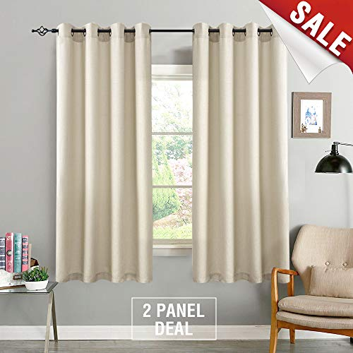 72 In Linen - Casual Weave Semi Sheer Curtains 72 Inch Length Curtain Grommet Top Linen Textured Privacy Drapes Panel Window and Door Draperies (2 Panels, Beige)