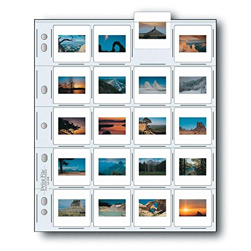 Print File 2x2-20B Archival Storage Page for 20 Slides - Pack of 25 - 050-0270 - File 35 Mm Slide