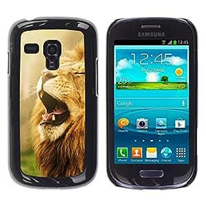 Caucho caso de Shell duro de la cubierta de accesorios de protección BY RAYDREAMMM - Samsung Galaxy S3 MINI NOT REGULAR! I8190 I8190N - Yawn Roar Lion Mane Powerful African Animal