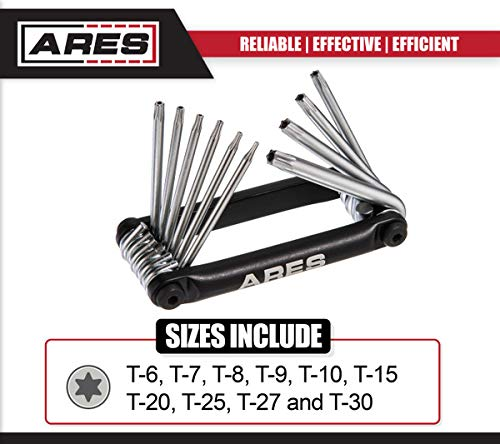 Sizes Include Security Torx T-6 to T-30 ARES 70077 10-Piece Tamper Proof Folding Star Key Set