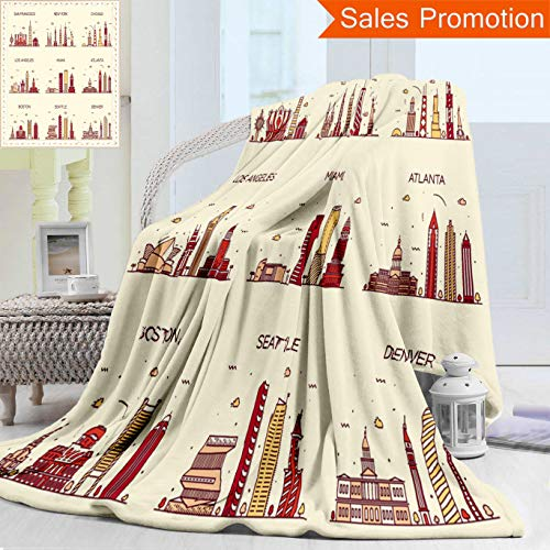 """Unique Double Sides 3D Print Flannel Blanket American Cities San Francisco New York Chicago Los Angeles Miami Atlanta Boston Seattle Cozy Plush Supersoft Blankets for Couch Bed, Twin Size 60"""" x 80"""""""