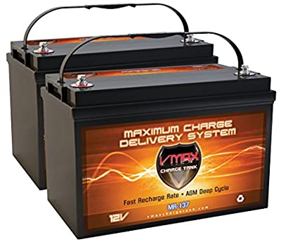 QTY2 VMAX MR137-120 12V 120AH AGM Deep Cycle Group 31 Batteries for 24 Volt 24V 75 Pound 75lb Thrust Trolling Motors