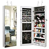 TomCare Jewelry Cabinet Jewelry Armoire Wall Door Mounted Jewelry Organizer Lockable with Frameless Mirror 2 Drawers Jewelry Box Earring Organizer Thickened Hanging Wall Mirror Jewelry Storage White