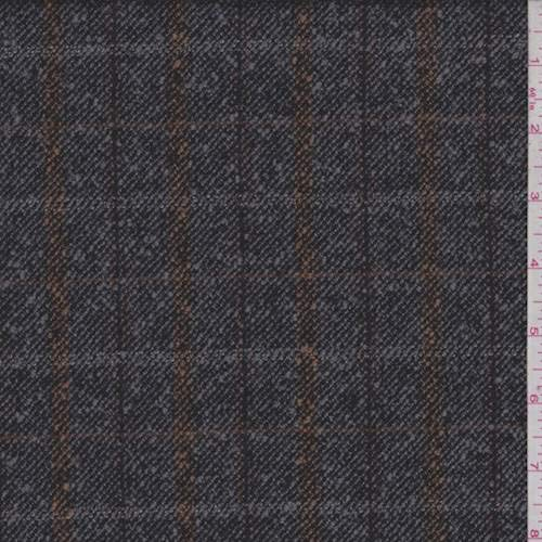 (Pewter/Clay Plaid Boucle Wool Jacketing, Fabric by The Yard)