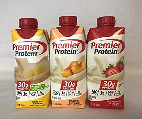 Premier Protein High Protein Shakes - 4 Bananas & Cream, 4 Peaches & Cream, 4 Strawberry & Cream (11 fl. oz., 12 pack)