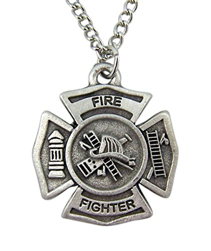(Spiritual Expressions Jewelry Silver Toned Round Firefighter Medal Cross Pendant Necklace, 1 Inch)