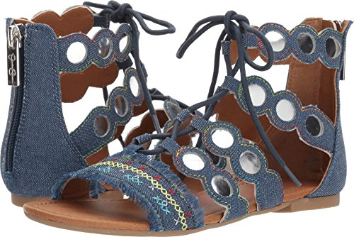 Dark Denim Footwear (Jessica Simpson Kids Giada Girls' Toddler-Youth Sandal 3 M US Little Kid Dark Denim)