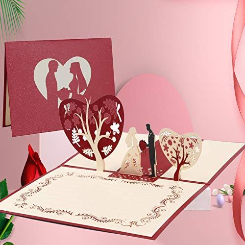 Tarjeta de Felicitación Pop Up 3D, Tarjeta de San Valentín con Sobre, Tarjeta de Felicitación de Boda e Invitación…