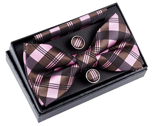 """Retreez Tartan Check Patterns Woven Microfiber Pre-tied Bow Tie (Width: 5"""") with matching Pocket Square and Cufflinks, Gift Box Set as a Christmas Gift, Birthday Gift - Pink and Dark Brown"""