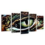 Visual Art Decor Large Animals Canvas Wall Art Panther Chameleon with Beautiful Eye Staring Painting Picture Framed and Stretched Canvas Prints Home Wall Mural Decoration (Large)
