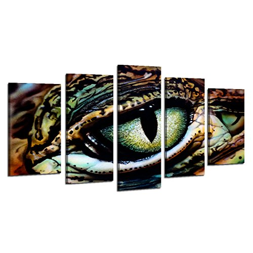 (Visual Art Decor Large Animals Canvas Wall Art Panther Chameleon with Beautiful Eye Staring Painting Picture Framed and Stretched Canvas Prints Home Wall Mural Decoration (Large))